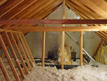 attic with insulation or attic cooling fan
